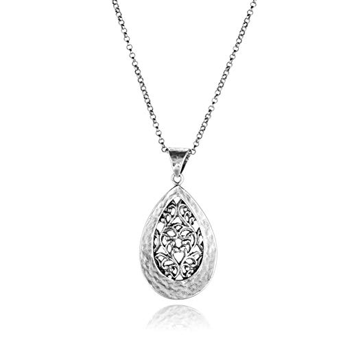 - PZ Paz Creations 925 Sterling Silver Filigree Teardrop Necklace