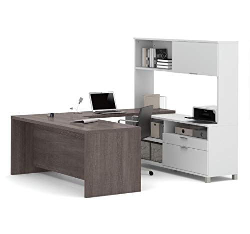 (Bestar Pro-Linea U-Desk with Hutch, White/Bark Grey)