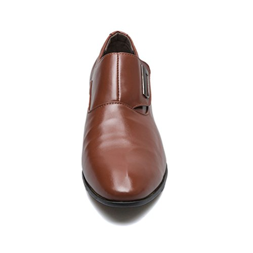 Zapatos 48 Planos 39 Marrón Sin Vestir Poplover Oxford Cuero De Hombre Zapatos de Cordones 5Ipw7xA