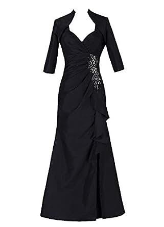 Dresstells Long Mother of Bride Dress Taffeta Bridesmaid Gowm with Jackaet Black Size 2