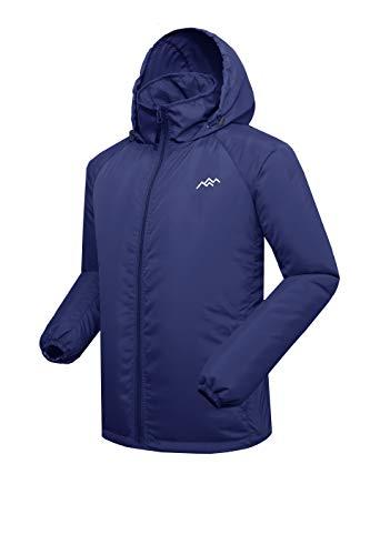 Trailside Supply Co. Men's Water Resistant Lightweight Windbreaker Front-Zip up Hooded Jacket Navy Medium