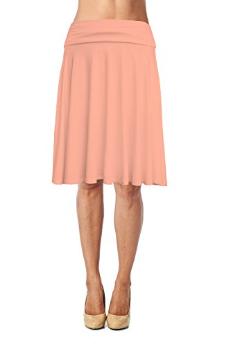 (Womens Fold Waist Soft Stretchy Mid Knee Length Flare Flowy Skirt Made in USA-Peach,Large)