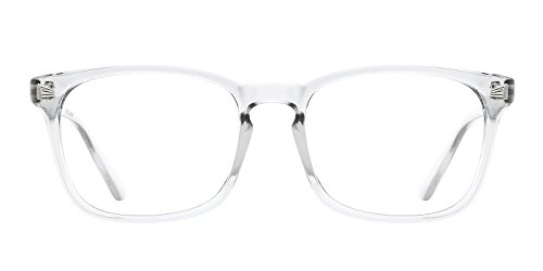 TIJN Chic Transparent Clear Frame Wayfarer Glass Non-prescription Eyeglasses for Men Women (Frame Plastic Transparent)