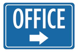 Aluminum Metal Office Print Blue White Notice Right Arrow Business Large 12 x 18 Sign