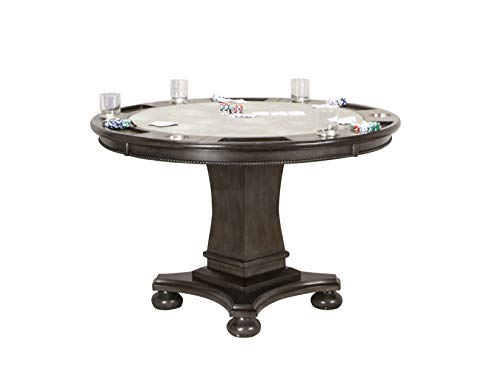 Sunset Trading CR-87711-TB Vegas Dining and Poker Table 2 in 1 Game, Gray/Black/Off-White