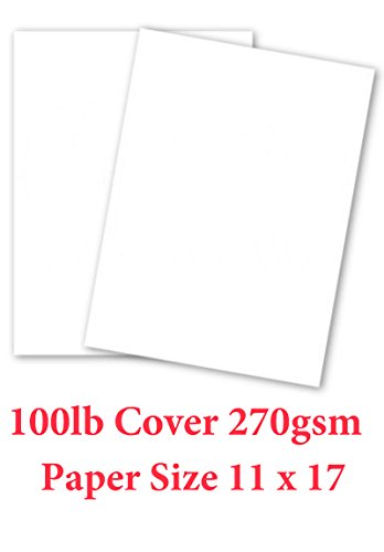 11x17 Cardstock Paper (White Card Stock Paper - 11x17 - Heavyweight 100lb Cover (270gsm) - 50 Pk)