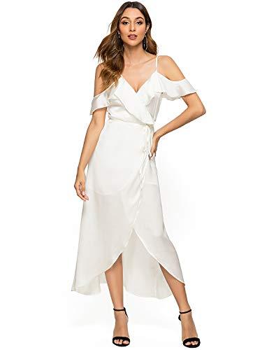 Escalier Women's Wrap Maxi Dress Satin Cold Shoulder High Low Split Party Dress White M