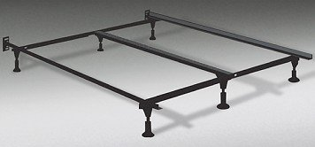 amazoncom heavy duty king metal bed frame with center support and 6 glide supports fully adjustable queen king cal king kitchen dining - Steel Bed Frames