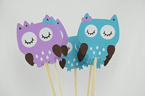 Owl Party Centerpieces, Owl Theme, Owl Centerpiece, Owl Baby Shower Theme, Light Purple and Light Teal Set of 4]()