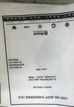 1997 1998 1999 Jeep Cherokee Parts Catalog Manual OEM Factory ()