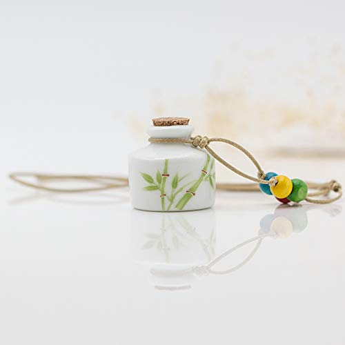 (handmade ceramic oil bottle necklace pendant chain girls girlfriends perfume bottles wishing student sweater trinkets (square - asparagus )