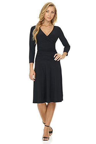 Knit Shirred Dress (Rekucci Women's Slimming 3/4 Sleeve Fit-and-Flare Crossover Tummy Control Dress (10,Black))