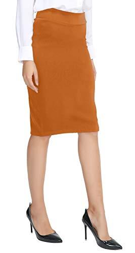 - Urban CoCo Women's Elastic Waist Stretch Bodycon Midi Pencil Skirt (L, Brick Yellow)