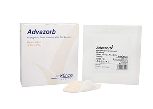 Hydrophilic Foam Dressing 4 x 4. Pack of 10 Sterile Surgical Wound Dressing. Polyurethane Foam Dressings. Hypoallrgenic, Single use Hydrophilic Pads. Wound Bandage. Latex-Free. by AMZ Medical Supply