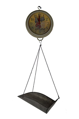 """33""""H Metal and Resin Seafood Scale Clock - Wall Decor"""