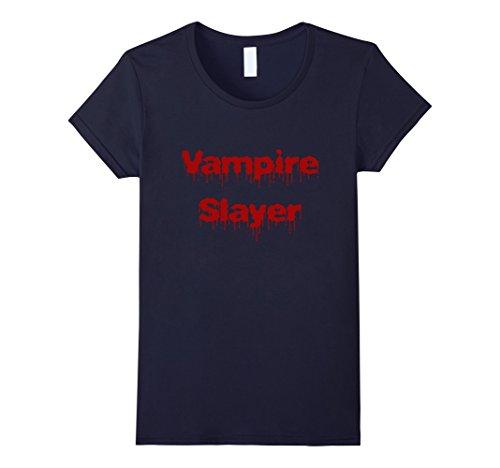 Vampire Slayer Costume Female (Womens Vampire Slayer T-shirt DIY Halloween Costume Funny Scary Small Navy)