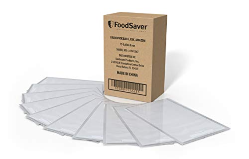 FoodSaver 1-Gallon Vacuum Sealer, Bags, 75 Count   BPA-Free, Commercial Grade for Food Storage and Sous Vide (Food Saver Oster)