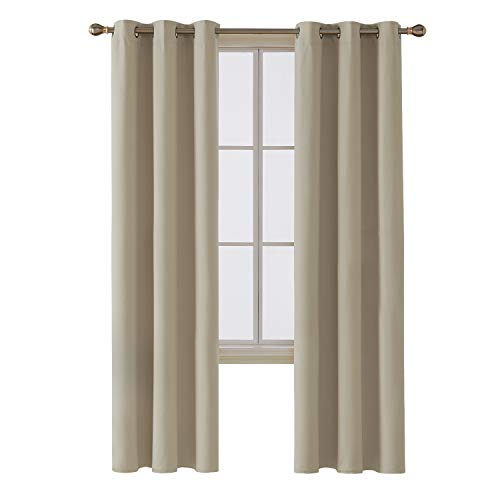 Infant Curtain - Deconovo Room Darkening Thermal Insulated Blackout Grommet Window Curtain Panel for Infant Room, Beige,42x95-Inch,1 Panel