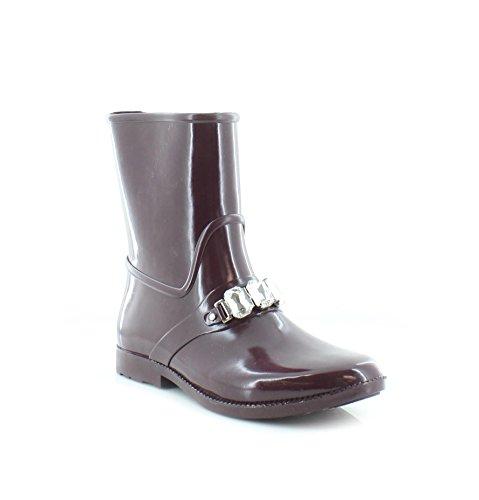 Boots Designer Rain (MICHAEL Michael Kors Women's Leslie Rain Bootie Plum Rubber/Stones Boot 8 M)