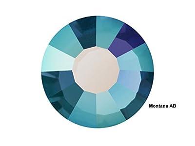 Preciosa Genuine Czech Crystals, 72pcs in size ss34 (7 mm), Montana AB, Viva Chaton Roses (Viva12 MC Rhinestone Flatbacks), silvery blue coated with Aurora Borealis, 34ss