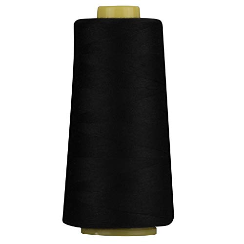 100% Spun Polyester Black Sewing Thread 1 Piece of 3000 Yard Overlock Connecting Serger Threads for DIY,Handwork,Serger,Overlock,Single Needle,Sewing Machine