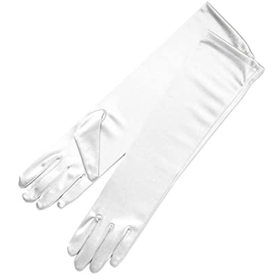 "ZaZa Bridal 15.5"" Long Shiny Stretch Satin Dress Gloves Below-The-Elbow Length 8BL"