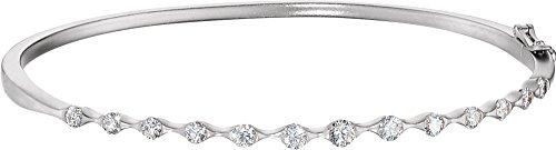 - 14K White Gold 1 CTW Diamond Bangle Bracelet