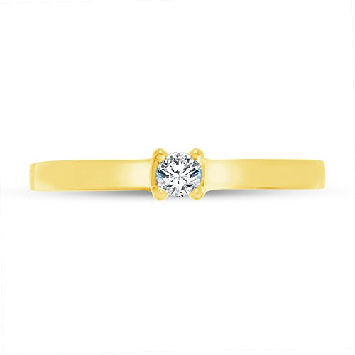 Size - 9.5 - Solid 14k Yellow Gold Round Cut Flat Band Petite Solitaire Engagement Ring CZ Cubic Zirconia (1/4 cttw., 0.25ct. (0.25 Ct Center)