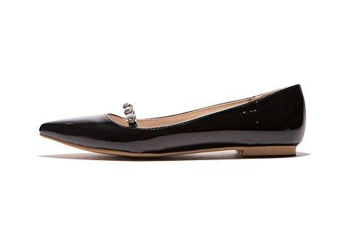 Balamasa Dames Glas Diamant Holle Luipaard Patroon Laag Uitgesneden Bovendeel Lakleder Pumps-schoenen Zwart
