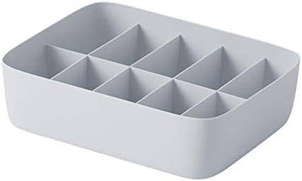 Caja de almacenamiento de ropa interior Canasta de almacenamiento de plástico Contenedor de almacenamiento apilable con divisor de 10 compartimientos para calcetines de bragas de sostén (Gris): Amazon.es: Amazon.es