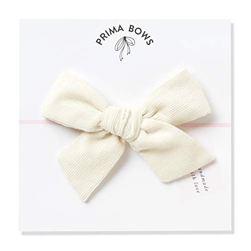 Handmade Cream Corduroy Fabric Bows For Girls, For Newborns Through Toddlers (1 Size Fits All) - Prima Bows (Cream, Alligator Clip) ()