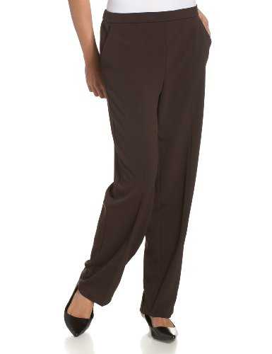 Briggs New York Women's Pull On Dress Pant Average Length & Short Length, Brown, 18