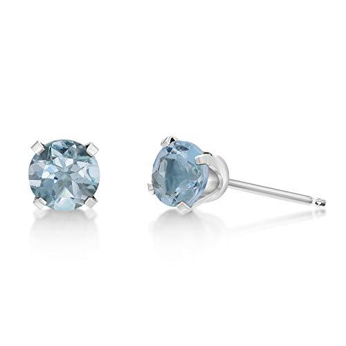 .90 CT Round 5MM Blue Aquamarine 14K White Gold Stud Birthstone Earrings (Baby Earrings Birthstones March)