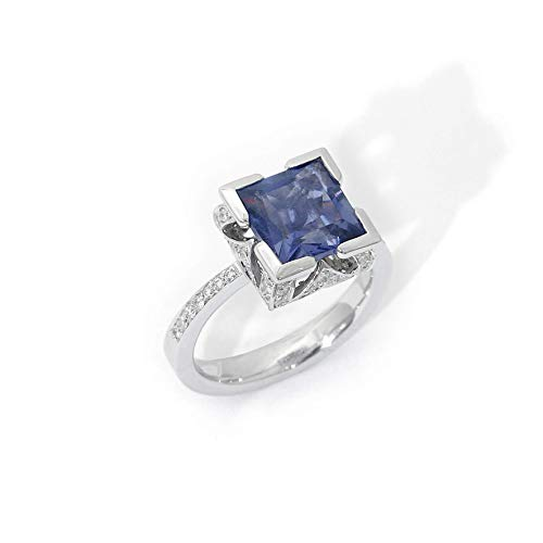 - 18k white gold Square Iolite Diamond Ring