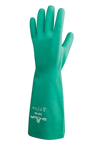 SHOWA 727-09 Nitrile Unlined Chemical Resistant Glove, Large (Pack of 12 Pairs)