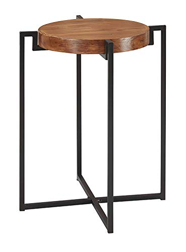 Convenience Concepts Nordic round Tray End Table, Dark Walnut Black