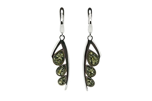 925 Sterling Silver Leaves Leverback Dangle Drop Earrings with Genuine Natural Baltic Green Amber. ()