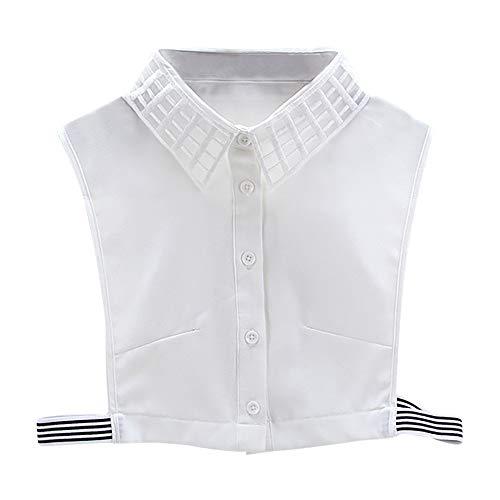 - Willsa Women Plaid New Blouse False Collar Clothes Shirt Detachable Collars