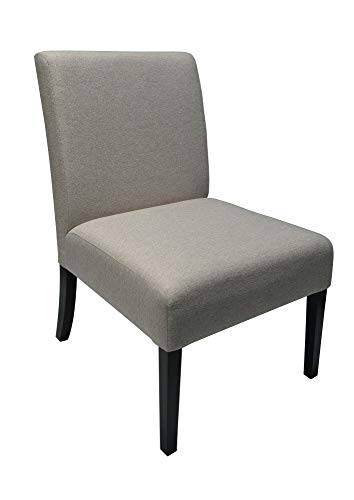 Light Grey Accent Chair - Armless - Fabric Upholstery - Solid Wood Legs - Classic Design (Light Grey)