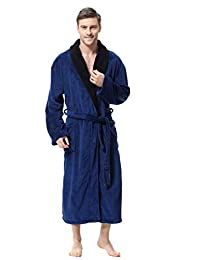 OUFANG Mens Robe - Sherpa Kimono Shawl Collar Bathrobe Comfy Spa Bath Robe S-XL