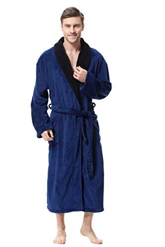 Men's Soft and Warm Bathrobe, Blue Spa Robe with Black Kimono Shawl Collar Unisex (Medium)