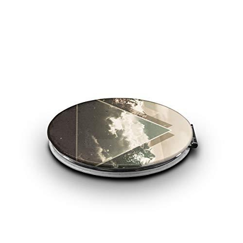 Elliptical Mountain - MEILVWEN Snow Mountain Triangle Portable Folding Cosmetic Mirror 1X & 2X Magnification Mini Pocket Mirror Elliptical