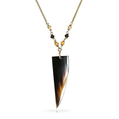 Bling Jewelry Natural Buffalo Horn Gold Plated Iron Tribal Pendant (Tribal Horn Necklace)