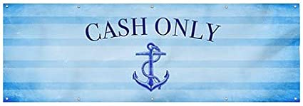 Nautical Stripes Wind-Resistant Outdoor Mesh Vinyl Banner 9x3 Cash Only CGSignLab