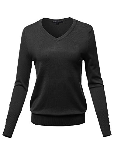(Casual Premium Quality Gold Button V-Neck Sweater Top Black 2XL)