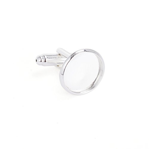Yumei Jewelry 20 Pcs 14mm Bezel Round Shaped Silver Plated Copper Cuff Link Blanks Backs for Jewelry (Shaped Blank)