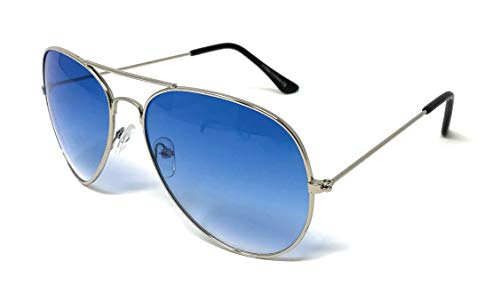 Classic Aviator Sunglasses Metal Teardrop Shape Mens Womens (Silver, Blue Gradient) ()