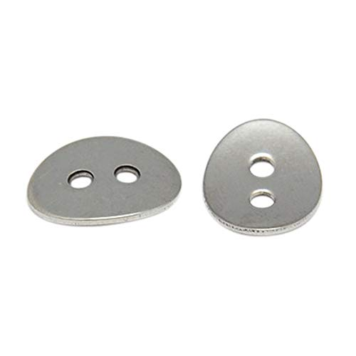 PH PandaHall 100pcs Stainless Steel 2 Hole Buttons Oval Craft Buttons for Sewing DIY Crafts and Jewelry Making - 14x10mm (Oval Button)