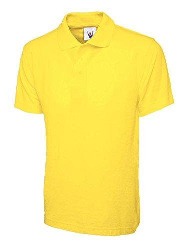 Classic–Polo–-Polo–Uni–Kragen Hemd Klassisch–kurzärmelig M Gelb