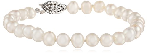 Sterling Silver  A Grade White Freshwater Cultured Pearl Bracelet (6.5-7mm), -
